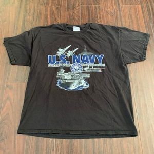 Vintage US Navy Shirt Size XL Black Graphic Print